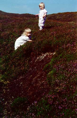 (photo: Laurel & Gwen playing in peat bog)